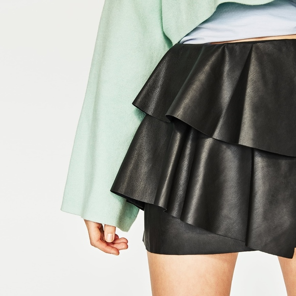 pick up unbeatable price free delivery Zara Faux Leather Ruffle Frill Detail Mini Skirt NWT